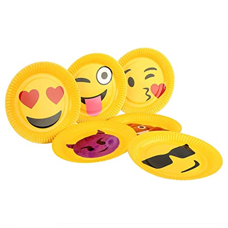 My Party Suppliers Emoji with Smiley Large Disposable Dinner Paper