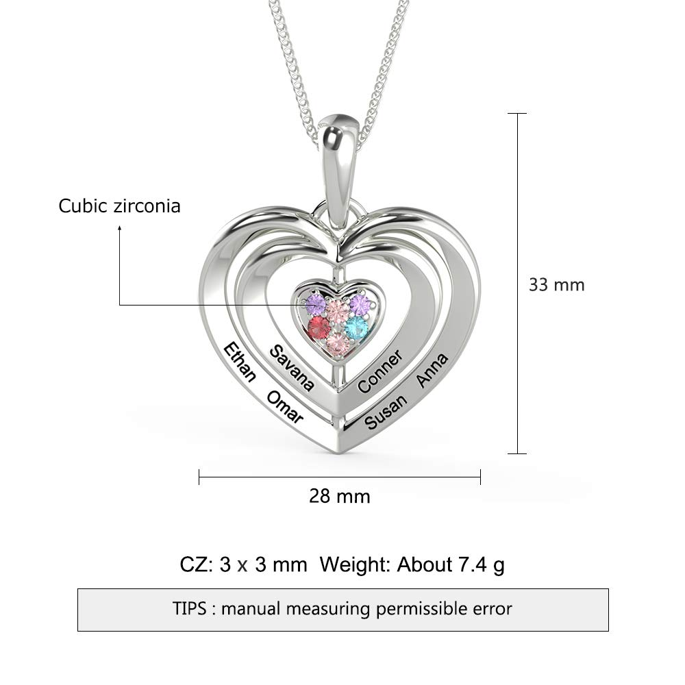 Tian Zhi Jiao Personalized 6 Names Mothers Pendant Necklace with Simulated Birthstones Custom Engraved Grandma Necklace Family Jewelry for Women (Silver)