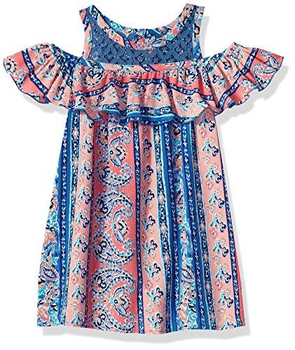 Bonnie Jean Girls' Big Cold Shoulder Dress, Pink/Blue Print, 14