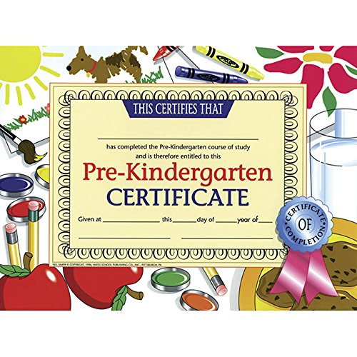 Hayes Certificates - HAYES SCHOOL PUBLISHING H-VA499 - CERTIFICATES PRE-KINDERGARTEN 30/PK Multi 8.5-x-11-inch