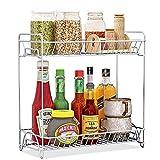 Spice Rack 2 Tier Standing Rack, OOFO Kitchen Bathroom Countertop Storage Organizer Spice Jars Bottle Shelf Holder Rack