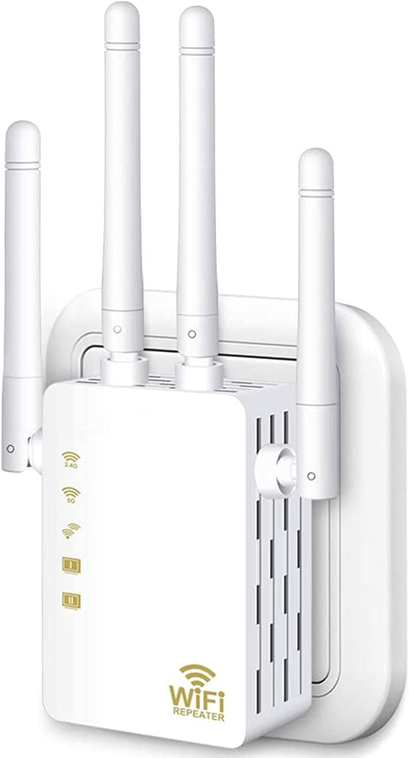WiFi Range Extender, 1200Mbps Wireless Signal Repeater Booster, Dual Band 2.4G and 5G Expander, 4 Antennas 360° Full Coverage, Extend WiFi Signal to Smart Home & Alexa Devices(KW1200R02) (White)