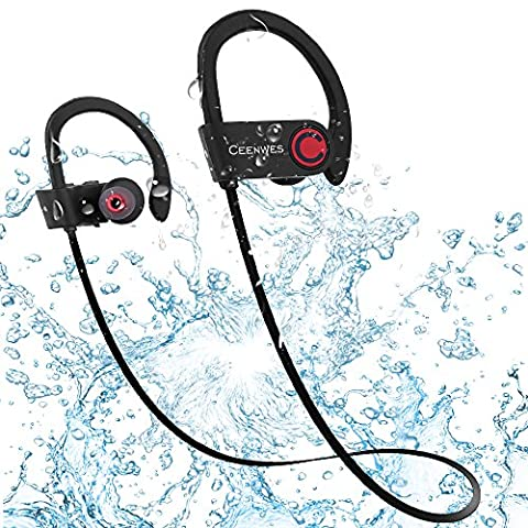 Ceenwes Bluetooth Headphones IPX7 Water-Proof Wireless Headphones Stereo Wireless Earbuds with Mic Bass Noise Cancelling Silicone Bluetooth Earbuds Rechargeable Sport Hands-Free Wireless (Waterproof Stereo Bluetooth)