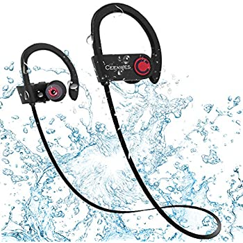 Ceenwes Bluetooth Headphones IPX7 Water-Proof Wireless Headphones Stereo Wireless Earbuds with Mic Bass Noise Cancelling Silicone Bluetooth Earbuds ...