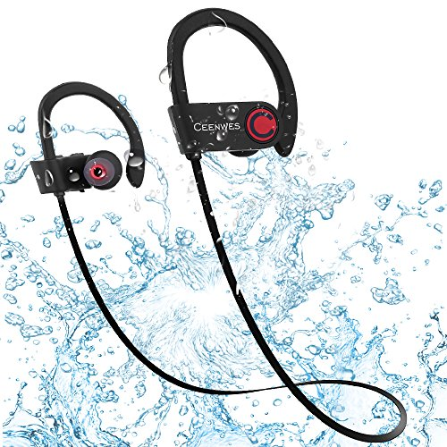 Ceenwes Bluetooth Headphones IPX7 Water-Proof Wireless Headphones Stereo Wireless Earbuds with Mic Bass Noise Cancelling Silicone Bluetooth Earbuds Rechargeable Sport Hands-Free Wireless Earbud (Bluetooth Clip Ear Free Hands)