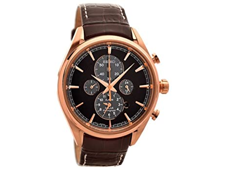 seiko mens gents ssc212p1 solar rose gold plated stainless steel seiko mens gents ssc212p1 solar rose gold plated stainless steel chrongraph dark brown leather strap wrist