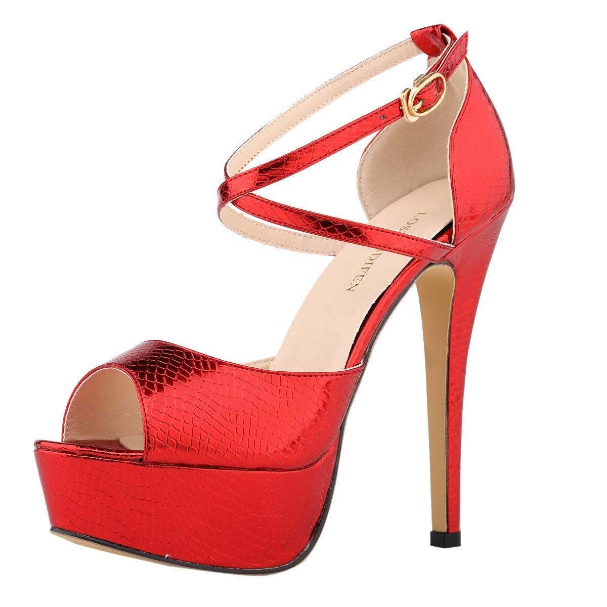 Red Women's Peep Toe Platform Stiletto High Heel Ankle Crisscross Strap Buckle Snap Dress Party Heeled Sandals