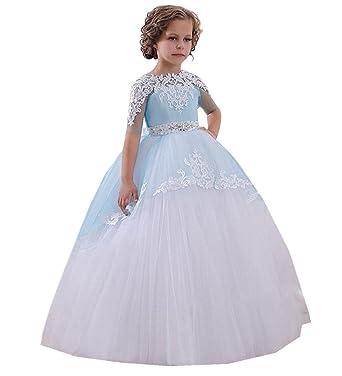 6c3418b44b6e3 KekeHouse Dentelle Perlée Robe Longue de Cérémonie Fille Enfant Mariage  Sans manches Arc