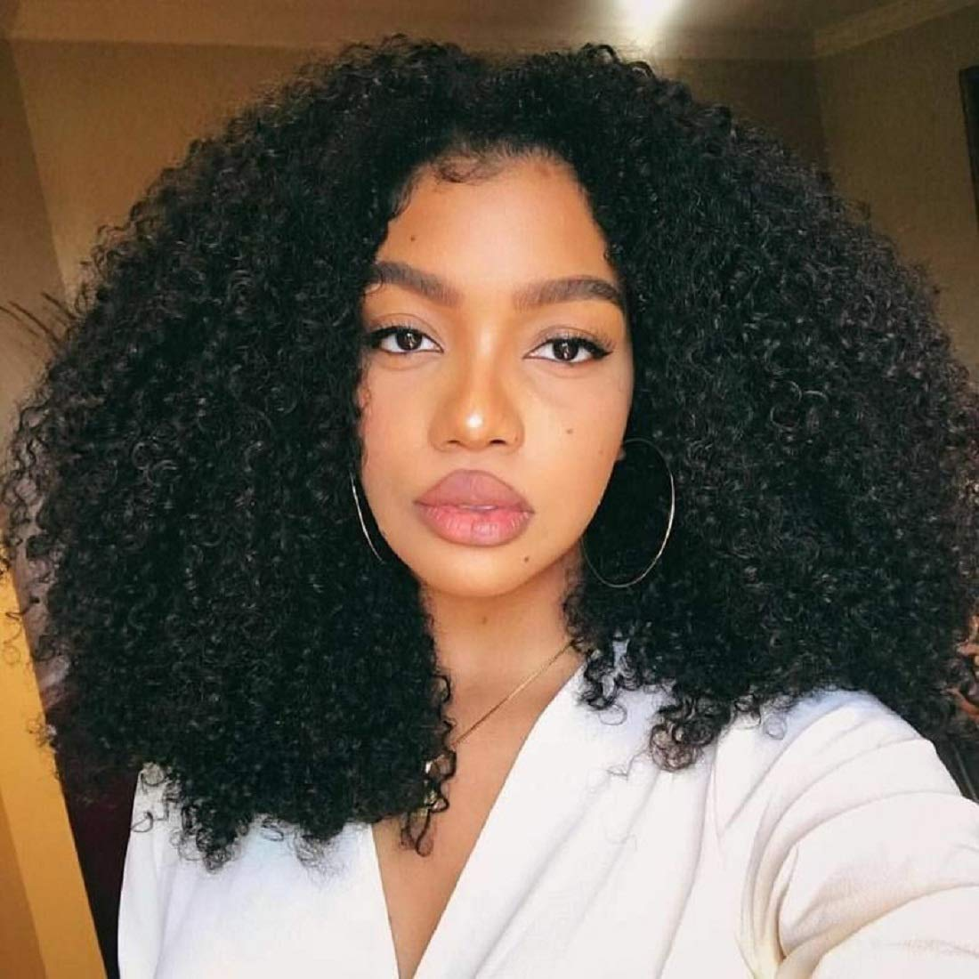 BLY 15A Mongolian Afro Kinky Curly Human Hair 15 Bundles Unprocessed Hair  Weave Weft Big Hair for African American Women Natural Color 15/15/15 Inch