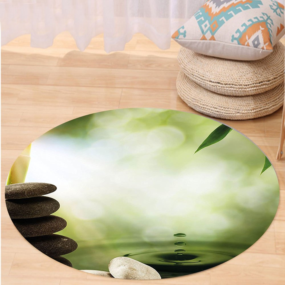 VROSELV Custom carpetTropical Abstract Eco Background with Bamboo Tree Water Splash Bubbles and Spa Stones for Bedroom Living Room Dorm Green Grey White Round 72 inches