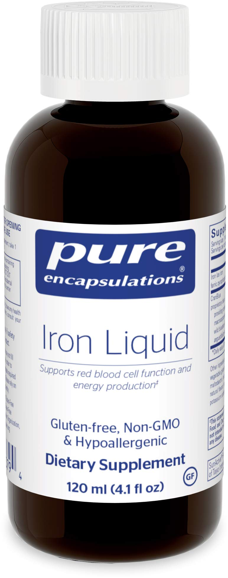 Pure Encapsulations - Iron Liquid - Hypoallergenic Supplement Supports Hemoglobin and Myoglobin Function - 4.1 fl. oz.