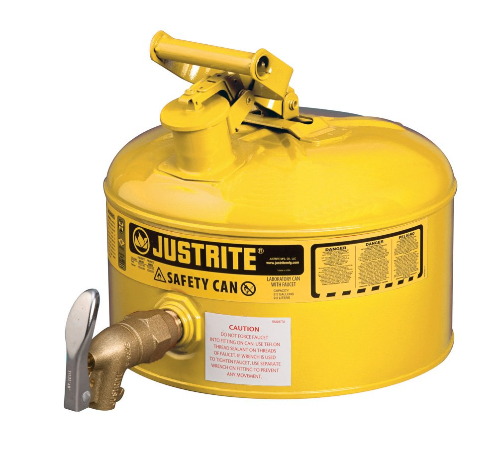 Justrite Manufacturing 7225250 Can Lab With 08902 Faucet44; 2.5G Yellow