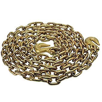 "3/8"" X 20' Grade 70 Standard Link Transport Chain, Binder Chain with Clevis Grab Hooks"