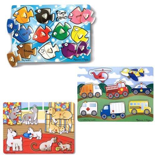 Melissa & Doug Vehicles, Fish Colors and Pets Peg Puzzle Bundle (Set of 3) (Melissa Doug Pets Mix)