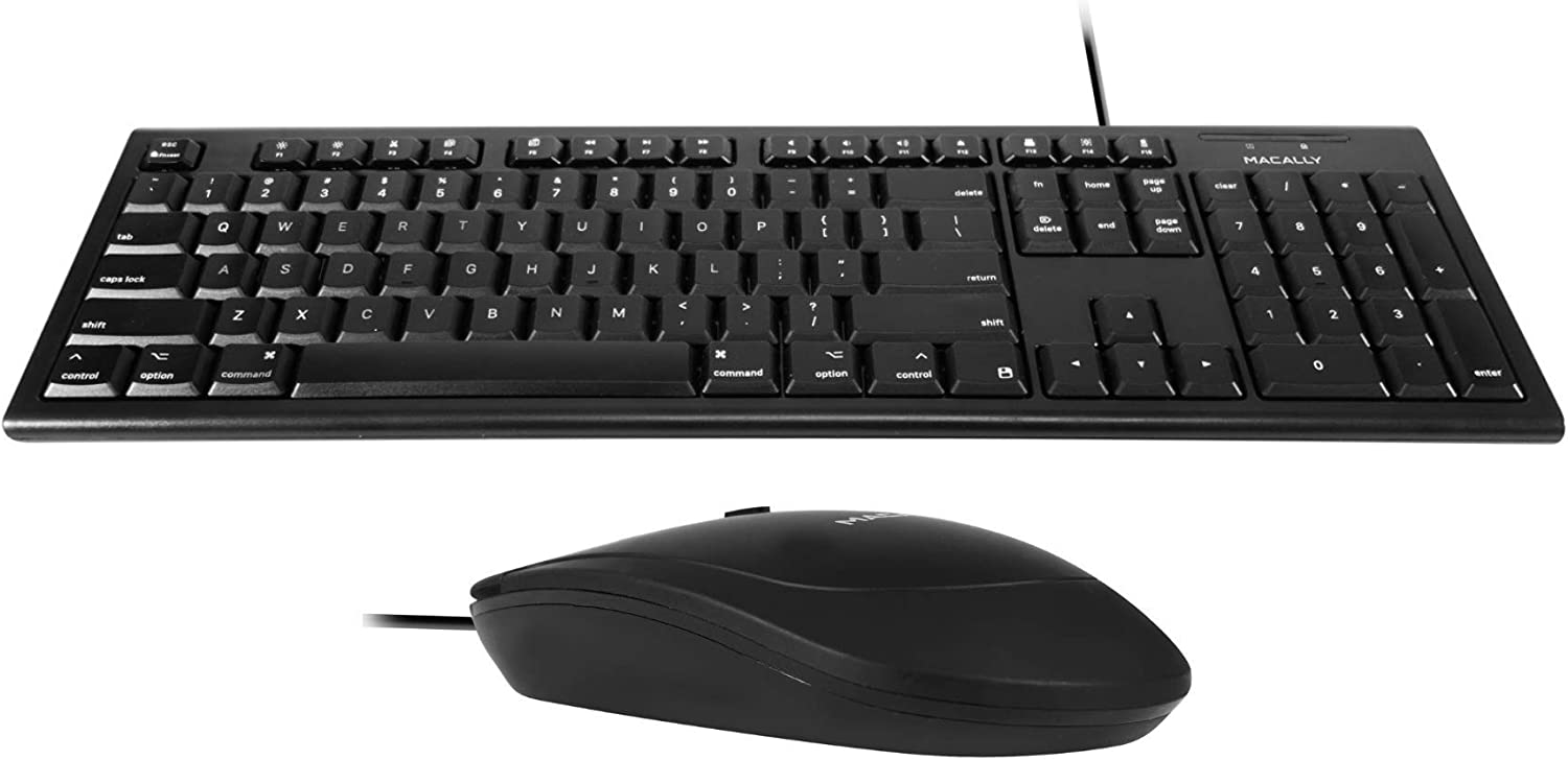 Macally Mac Wired Keyboard and a Silent Wired Mouse, Ultimate Office Duo