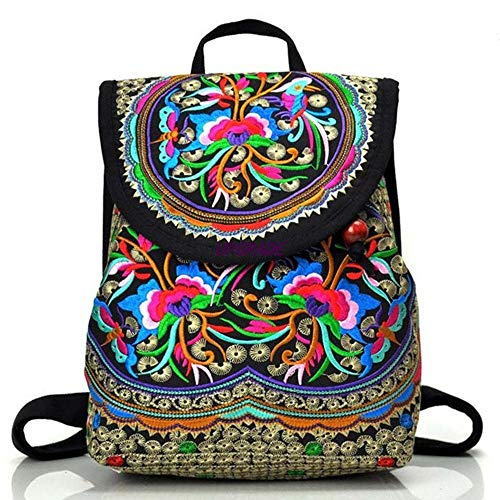 Goodhan Vintage Women Embroidery Ethnic Backpack Travel Handbag Shoulder Bag ()