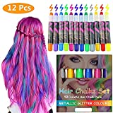 Hair Chalk, Temporary Hair Color, Hair Chalk for Kids, 12 Colorful Hair Chalk Pens, Metallic Glitter Temporary hair chalk set, Washable Hair Color Safe For Kids And Teen Halloween Christmas party