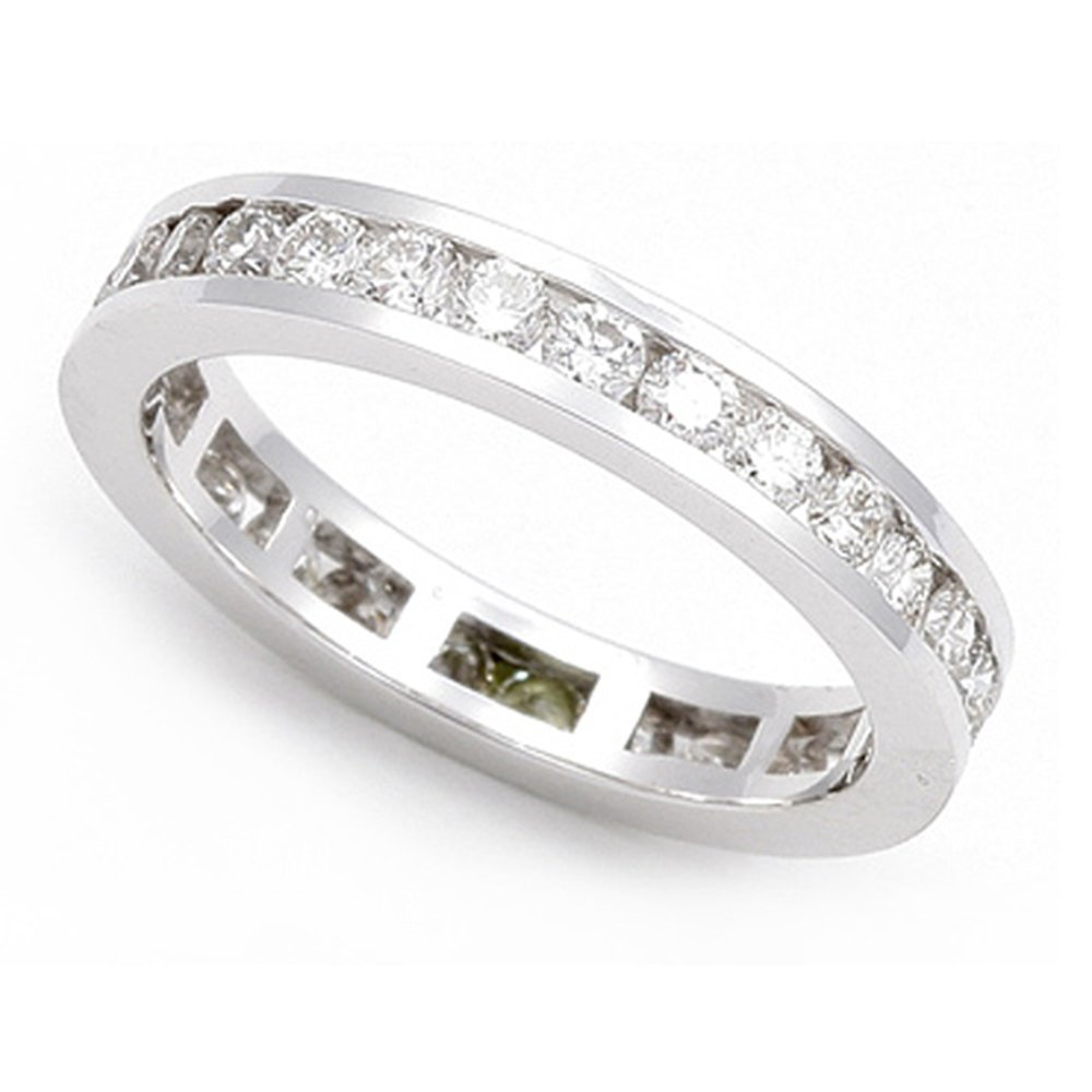 14k White Gold Channel set Diamond Eternity Wedding Band Ring (G-H/SI, 1 1/6 ct.), 6.5 by Juno Jewelry