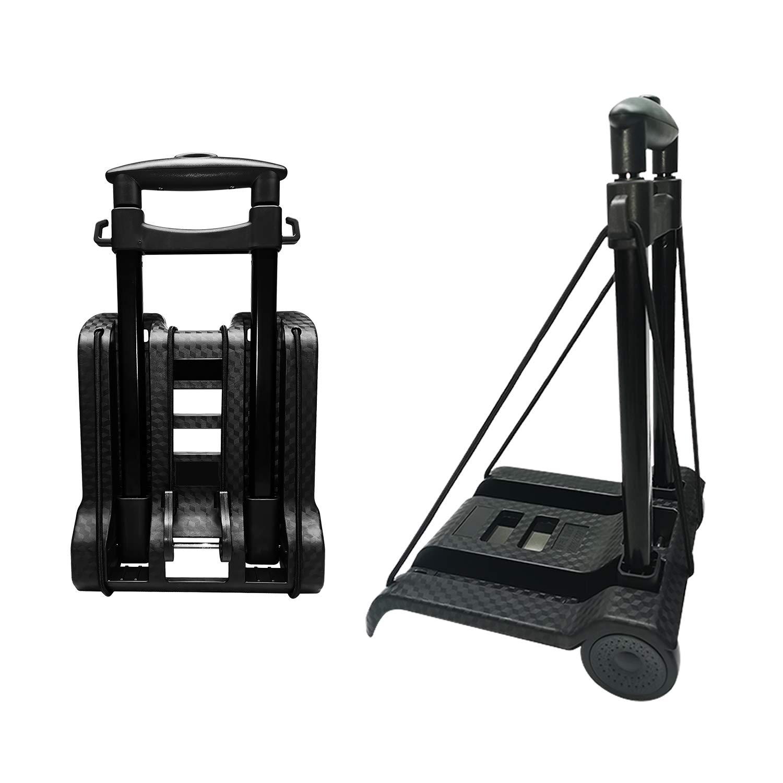 Carretilla de mano plegable, con ruedas de PVC resistentes al desgaste sin ruido y barra de tiro ajustable, capacidad de 40 kg y peso liviano (1.4 kg), carro de servicio pesado portátil y duradero