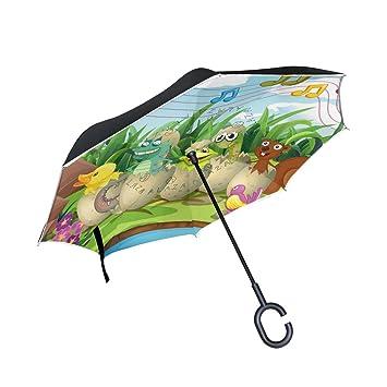 MyDaily Paraguas invertido de doble capa para coches, paraguas invertido, bonitos animales en huevos