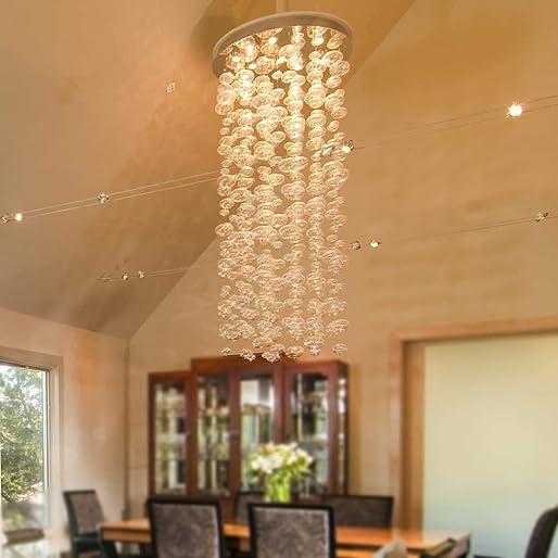 SILJOY Contemporary Bubble Chandelier Lighting Bubble Glass Flush Mount LED Ceiling Light