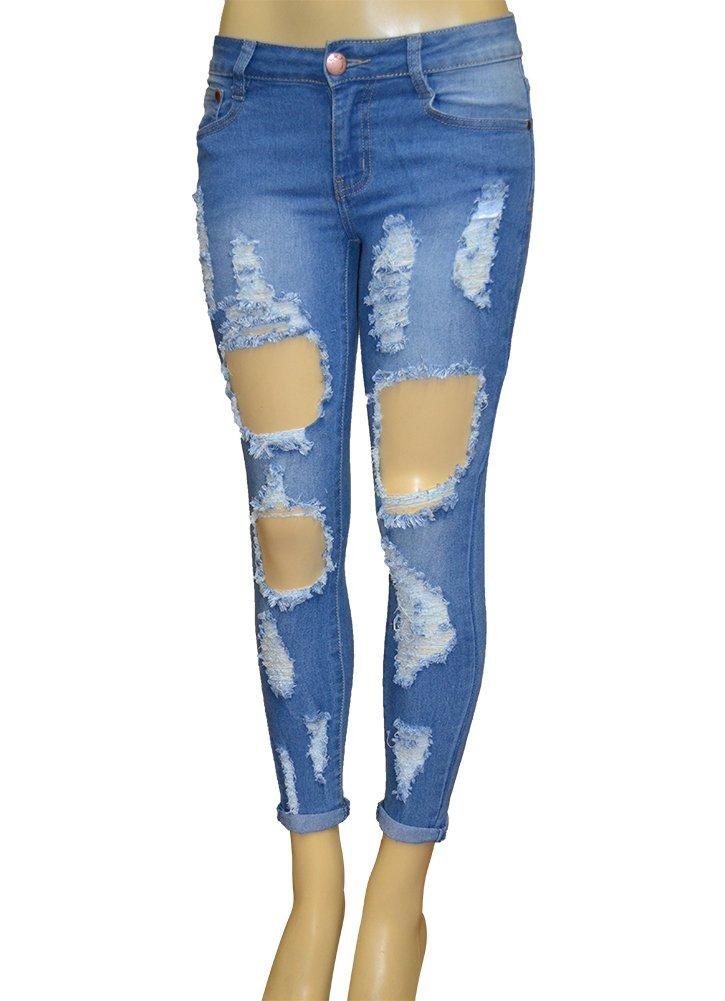 LnLClothing Junior's Low Rise Skinny Ripped Denim Pants, L.Blue, 15/16