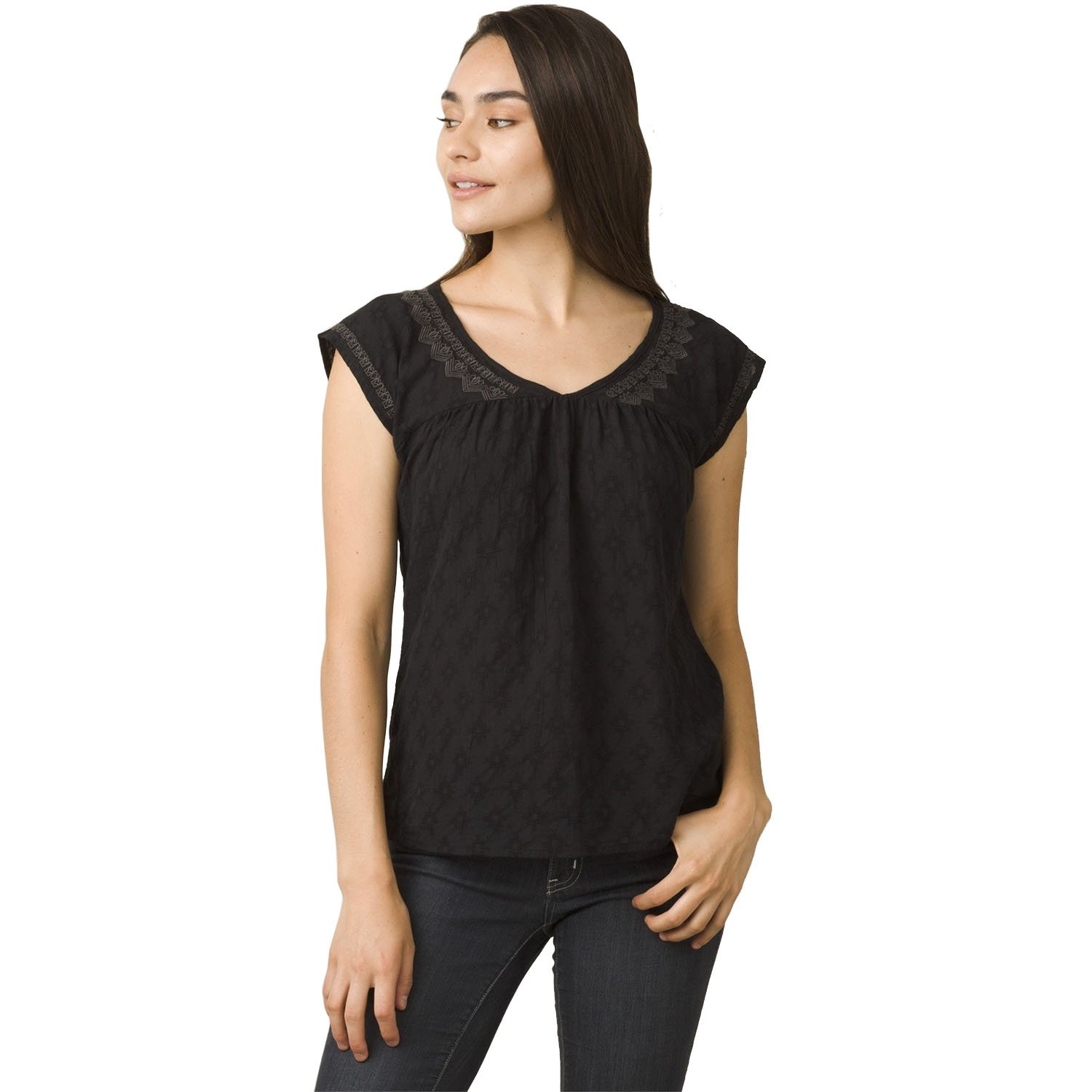 0efc29476af1 V-neck cap sleeve with empire waist, keyhole back neck closure and  embroidery detail. Relaxed fit