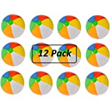 12 Pack Inflatable Beach Balls - 20 Inch - Traditional Multicolored Rainbow Color Beach Ball Style – Swimming Pool, Poolside, Beach, Party Favor – By Kidsco