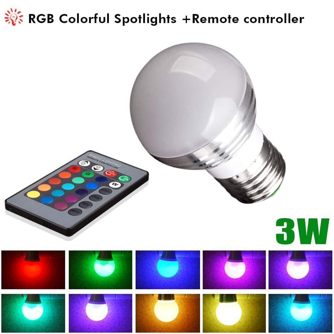 BOLWEO [4 Pack] Color Changing Light Bulb with Remote, E26 E27 Base 3W 16 Colored RGB LED Dimmable Mood Light Flood Light Bulbs Energy Saving Lamps for Home, Bar, Party, KTV