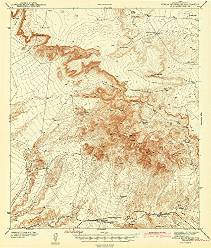 - YellowMaps Finlay Mountains TX topo map, 1:62500 Scale, 15 X 15 Minute, Historical, 1943, 19.7 x 16.8 in - Polypropylene