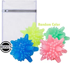 Popuid Reusable Dryer Balls Sets Bouns Mesh Laundry Bag Wrinkle Remover Spiky Dryer Balls Less Static Attached Laundry Bag Protects Delicate Clothing (4)