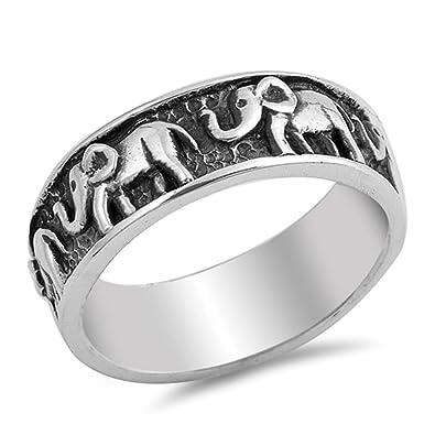 Amazoncom Sterling Silver 7mm 7mm Elephant Wedding Band Engagement
