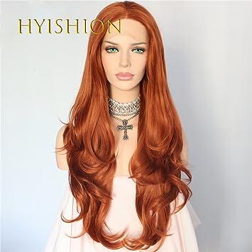 HYISHION Las Mujeres Atractivas Peluca Roja Naranja A Larga Melena con Reflejos Y Puntas Onduladas Sueltas