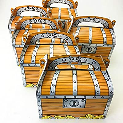Adorox 12 Pack Pirate Treasure Chest Decoration Party Favor Goodie Candy Box: Kitchen & Dining