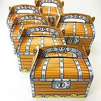 Adorox 24 Pack Pirate Treasure Cofre Decoración Favor de fiesta Goodie Candy Box Agarrar bolsa