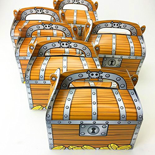 Adorox 12 Pack Pirate Treasure Chest Decoration Party Favor Goodie Candy Box