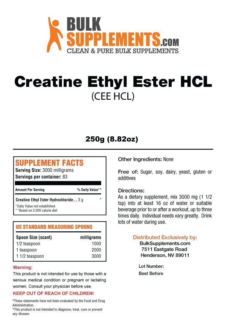 Bulksupplements Pure Creatine Ethyl Ester (CEE) HCL Powder (250 grams)