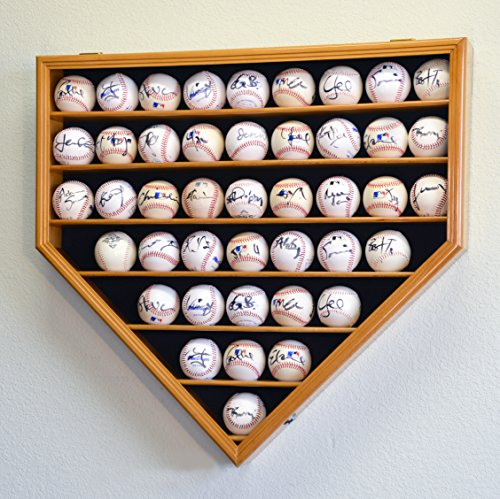 Home Plate Wall - 43 Baseball Display Case Cabinet Holder Wall Rack Home Plate Shaped w/ UV Protection- Lockable -Oak