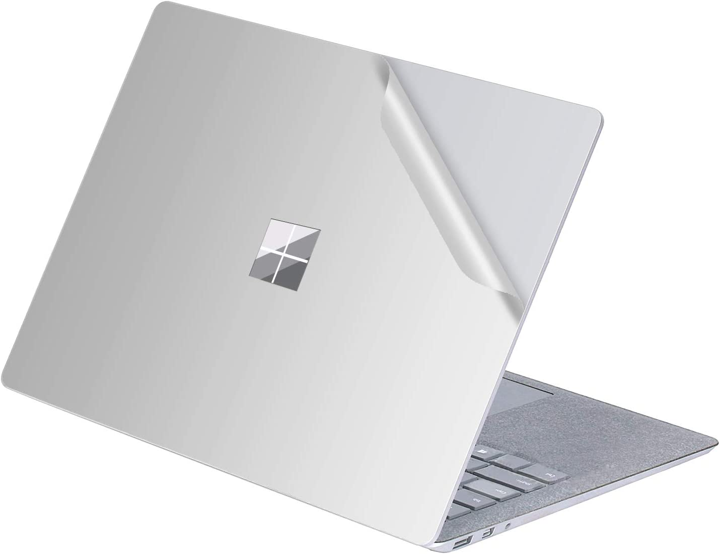 MasiBloom Top Sticker Protective Decal for 13 13.5 inch Microsoft Surface Laptop 3 & 2 & 1 (2019 2018 2017 Released) Anti-Scratch Vinyl Laptop Cover Skin, Not fit for Surface Book(Pure Color- Silver)