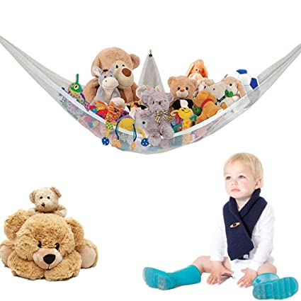 White Baby Organizer Hanging Toy Net Hammock Stuffed Plush Doll Storage Bag-6A Other Nursery Decoration