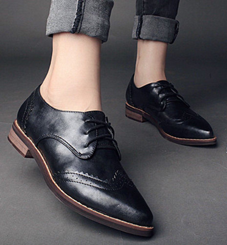 IDIFU Women's Classic Low Chunky Heels Wingtip Lace Up Oxfords Shoes Black 7.5 B(M) US by IDIFU (Image #4)