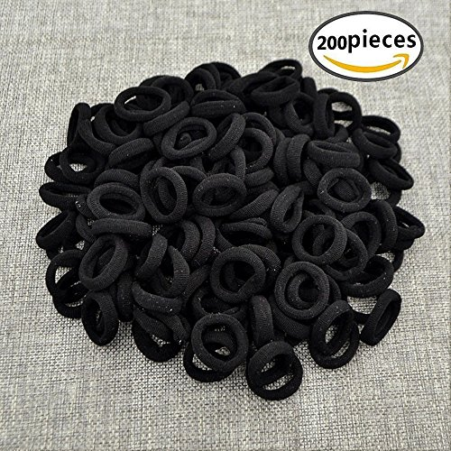 Hair Bands Ties,200pcs Black Elastic Rubber Bands Not hurt hair & No Crease Ponytail Holders,Tiny Soft Hair Ties for Toddler Baby Kids (Black)