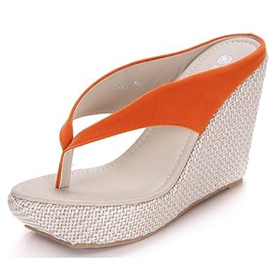 Donalworld Frauen-Sommer-Strand-Schuhe T-Bügel-starke alleinige Sandalen Flip Flops Wedges Sandalen orange Asien-Größe 41 02tNr8U4M6