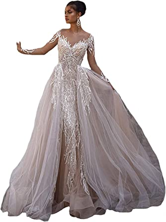 Amazon Com Melisa Women S Sparkle Beading Tulle Lace Mermaid Wedding Dress For Bride With Removable Train Bridal Ball Gown Clothing,Plus Size Purple Dress For Wedding Guest