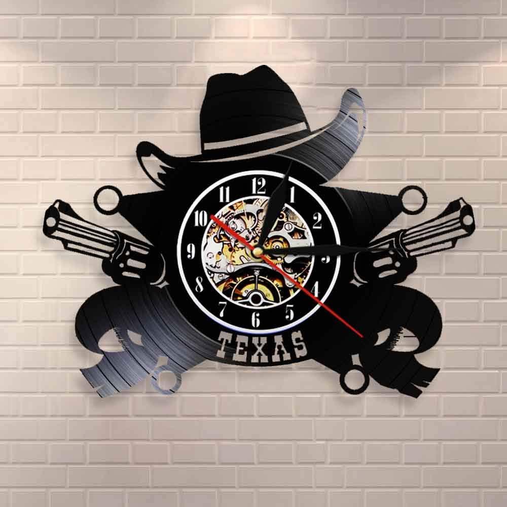 LED-Reloj de pared de vaquero de Texas, símbolo del horizonte del oeste americano, reloj de pared con disco de vinilo, decoración de pared occidental con revólver de Rodeo Vintage del salvaje oeste