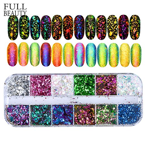 POYING Full Beauty 12 Color Dazzling Sparkly Nail Sequins Chameleon Irregular Mirror Glitter Powder Dust DIY Decor Nail Flakes CHBS by POYING