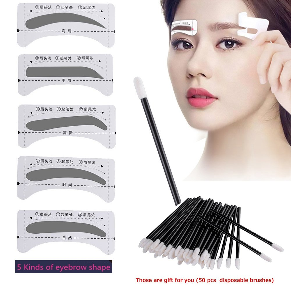 10 Pairs Eyebrow Stencil, Vanyda Brow Duo Design Disposable 5 Style Eyebrows Grooming Stencil Kit Template Make-Up Beauty Tool