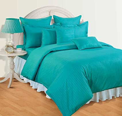 7bb9181c34 Buy Swayam Sonata Tango Cotton Single Bedsheet Set - Aqua (STB11-AQUA TURQ)  Online at Low Prices in India - Amazon.in