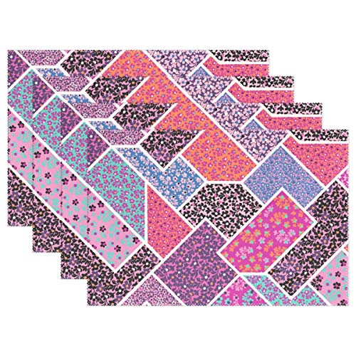 UTRgdfsvxc Placemats, Plate Holder, Heat-Resistant Stain Resistant Colorful Modern Medley Table Mats for Kitchen 12