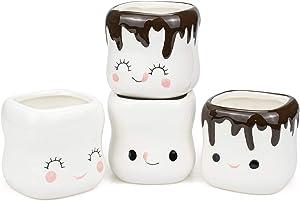 Hedume 4 Pack Ceramic Marshmallow Shaped Hot Chocolate Mugs, Cut Coffee Mug Set, Couple Matching Mugs, Anniversary Christmas Wedding Valentine's Day Gift